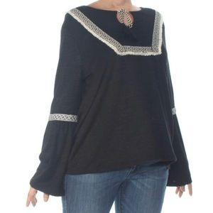 STYLE & COMPANY Black Embroidered  Bell Sleeve Top
